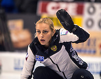 Glasgow. SCOTLAND.  Russian &quot;Skip&quot; signals to a team mate during the &quot;Round Robin&quot; Games. Le Gruy&egrave;re European Curling Championships. 2016 Venue, Braehead  Scotland<br /> Monday  21/11/2016<br /> <br /> [Mandatory Credit; Peter Spurrier/Intersport-images]