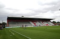 The seats have started being installed in the new North stand before Stevenage vs Exeter City, Sky Bet EFL League 2 Football at the Lamex Stadium on 10th August 2019