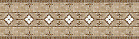 """11 3/4"""" Frangipani border, a hand-cut stone mosaic, shown in polished Calacatta Tia and honed Fontenay Claire, and polished Travertine Noce."""