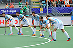 The Hague, Netherlands, June 15: Players of Argentina line up for a penalty corner during the field hockey bronze match (Men) between Argentina and England on June 15, 2014 during the World Cup 2014 at Kyocera Stadium in The Hague, Netherlands. Final score 2-0 (0-0)  (Photo by Dirk Markgraf / www.265-images.com) *** Local caption ***