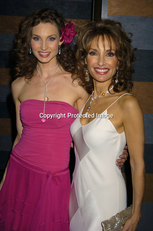 Alicia Minshew and Susan Lucci ..at the Rainbow Room at the celebration for All My Childrens's 35th Anniversary after a show at Town Hall benefitting Broadway Cares Equity Fights Aids on February 7, 2005. ..Photo by Robin Platzer, Twin Images