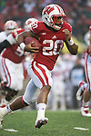 Wisconsin Badgers running back James White (20) carries the ball during an NCAA Big Ten Conference Football game against the Indiana Hoosiers Saturday, November 16, 2013, in Madison, Wis. The Badgers won 51-3. (Photo by David Stluka)
