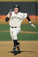 Johnny Aiello (2) of the Wake Forest Demon Deacons hustles towards third base against the Richmond Spiders at David F. Couch Ballpark on March 6, 2016 in Winston-Salem, North Carolina.  The Demon Deacons defeated the Spiders 17-4.  (Brian Westerholt/Four Seam Images)