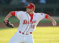 LHP Drake Britton of the Greenville Drive in a game against the Lakewood BlueClaws in Game 1 of the South Atlantic League Championship Series on Sept. 13, 2010, at Fluor Field at the West End in Greenville, S.C. Baseball America named Britton the No. 16 top prospect in the South Atlantic League for the 2010 season.Photo by: Tom Priddy/Four Seam Images