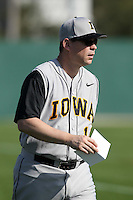 Coach Jack Dahm #19 of the Iowa Hawkeyes during the Big East-Big Ten Challenge vs. the West Virginia Mountaineers at Jack Russell Stadium in Clearwater, Florida;  February 18, 2011.  West Virginia defeated Iowa 5-0 in both teams opening games of the season.  Photo By Mike Janes/Four Seam Images