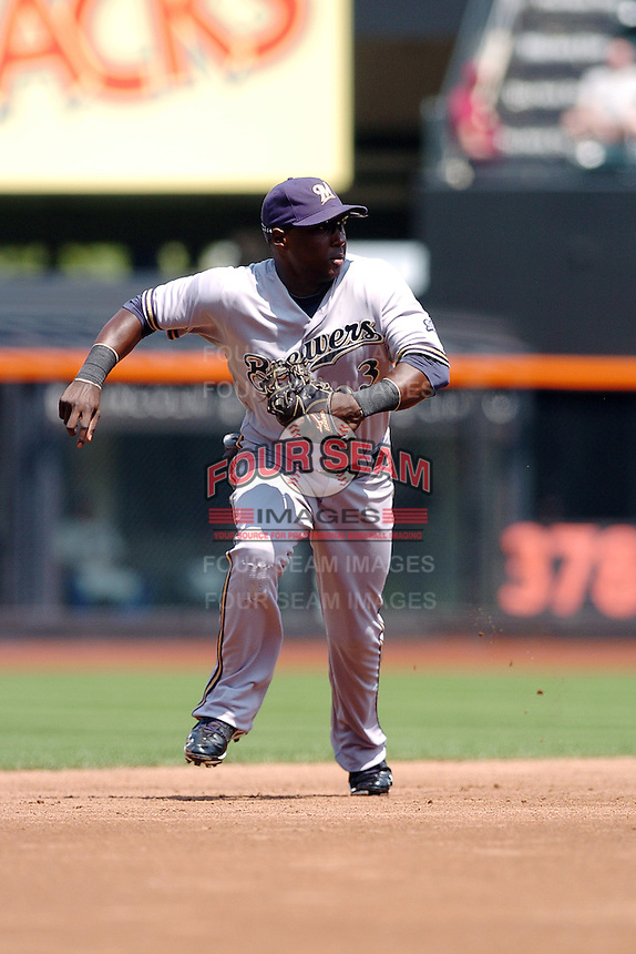 Milwakee Brewers infielder Yuniesky Betancourt #3 during a game against the New York Mets at Citi Field on August 21, 2011 in Queens, NY.  Brewers defeated Mets 6-2.  Tomasso DeRosa/Four Seam Images
