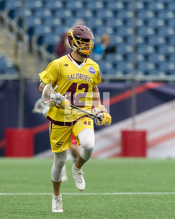 Foxborough, Massachusetts - May 27, 2018: NCAA Division III tournament final. Wesleyan University (red) defeated Salisbury University (yellow), 8-6, at Gillette Stadium.