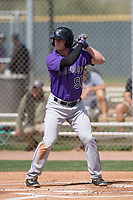 Colorado Rockies infielder Bret Boswell (90) during a Minor League Spring Training game against the Milwaukee Brewers at Salt River Fields at Talking Stick on March 17, 2018 in Scottsdale, Arizona. (Zachary Lucy/Four Seam Images)