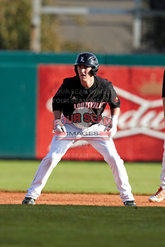 Louisville Cardinals infielder Mason Snyder #9 during a game against the Illinois Fighting Illini at the Big Ten/Big East Challenge at Al Lang Stadium on February 18, 2012 in St. Petersburg, Florida.  (Mike Janes/Four Seam Images)