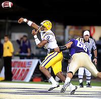Sept. 5, 2009; Seattle, WA, USA; LSU Tigers quarterback (9) Jordan Jefferson throws a pass in the second quarter against the Washington Huskies at Husky Stadium. Mandatory Credit: Mark J. Rebilas-