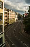 DENMARK, Copenhagen, golden hour on a curved street, Europe