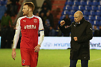 Fleetwood Town manager Uwe Rösler  applauds the fans after the final whistle in the Sky Bet League 1 match between Oldham Athletic and Fleetwood Town at Boundary Park, Oldham, England on 26 December 2017. Photo by Juel Miah / PRiME Media Images.