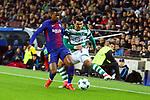 UEFA Champions League 2017/2018 - Matchday 6.<br /> FC Barcelona vs Sporting Clube de Portugal: 2-0.<br /> Nelson Semedo vs Marcos Acu&ntilde;a.