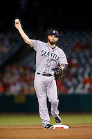 Dustin Ackley #13 of the Seattle Mariners during a game against the Los Angeles Angels at Angel Stadium on September 26, 2012 in Anaheim, California. Los Angeles defeated Seattle 4-3. (Larry Goren/Four Seam Images)