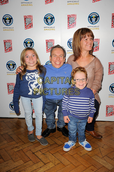 Samantha, Warwick Davis &amp; family<br /> The Guinness World Records 2014 Launch Party, One Marylebone, London, England. <br /> 17th September 2013<br /> full length blue top jeans denim kids children <br /> CAP/MAR<br /> &copy; Martin Harris/Capital Pictures