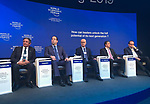 Palestinian Prime Minister Rami Hamdallah (Center) attends a panel session of the 49th annual meeting of the World Economic Forum, WEF, in Davos, Switzerland, 22 January 2019. The meeting brings together entrepreneurs, scientists, corporate and political leaders in Davos under the topic 'Globalization 4.0' from 22 - 25 January 2019. Photo by Prime Minister Office