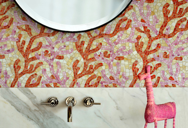Coral, a hand cut glass mosaic shown in Rose Quartz, Sardonyx, and Agate, is part of the Erin Adams Collection for New Ravenna.