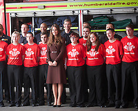 PAP0313KG451.Catherine, The Duchess of Cambridge, carries out three official engagements in the Lincolnshire seaport town of Grimsby. Showing her pregnancy sick problems are behind her, she is visiting the National Fishing Heritage Centre, Humberside Fire and Rescue Service and Havelock Academy.