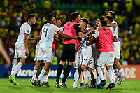 BUCARAMANGA - COLOMBIA, 06-02-2020: Jugadores de Argentina celebran después del partido entre Argentina U-23 y Colombia U-23 por el cuadrangular final como parte del torneo CONMEBOL Preolímpico Colombia 2020 jugado en el estadio Alfonso Lopez en Bucaramanga, Colombia. / Players of Argentina celebrate after the match between Argentina U-23 and Colombia U-23 of for the final quadrangular as part of CONMEBOL Pre-Olympic Tournament Colombia 2020 played at Alfonso Lopez stadium in Bucaramanga, Colombia. Photo: VizzorImage / Julian Medina / Cont