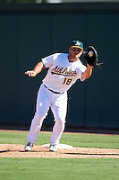 Oakland Athletics Kyle Nowlin (18) during an Instructional League game against the San Francisco Giants on October 5, 2016 at Fitch Park in Mesa, Arizona.  (Mike Janes/Four Seam Images)