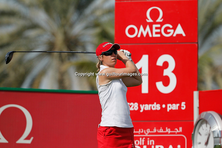 Sally Watson (SCO) during round four of the 2014 Omega Dubai Ladies Masters being played over the Majlis Course, Emirates Golf Club, Dubai from 10th to 13th December 2014: Picture Stuart Adams, www.golftourimages.com: 13-Dec-14