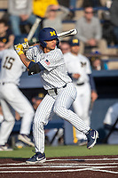Michigan Wolverines outfielder Jordan Brewer (22) at bat during the NCAA baseball game against the Eastern Michigan Eagles on May 8, 2019 at Ray Fisher Stadium in Ann Arbor, Michigan. Michigan defeated Eastern Michigan 10-1. (Andrew Woolley/Four Seam Images)