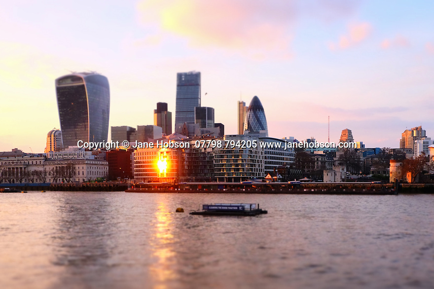 London, UK. 07.04.2015.View across the River Thames towards the Walkie Talkie Building in the City. Tilt/shift filter effect applied. Photograph © Jane Hobson.