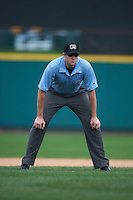 Umpire Nick Lentz during a game between the Rochester Red Wings and Pawtucket Red Sox on July 1, 2015 at Frontier Field in Rochester, New York.  Rochester defeated Pawtucket 8-4.  (Mike Janes/Four Seam Images)