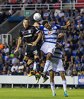 John Terry of Aston Villa goes up for a shot against Liam Moore of Reading during the Sky Bet Championship match between Reading and Aston Villa at the Madejski Stadium, Reading, England on 15 August 2017. Photo by Andy Rowland / PRiME Media Images.