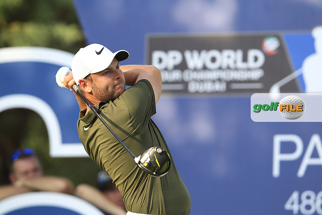 Jordan Smith (ENG) on the 16th tee during the final round of the DP World Tour Championship, Jumeirah Golf Estates, Dubai, United Arab Emirates. 18/11/2018<br /> Picture: Golffile | Fran Caffrey<br /> <br /> <br /> All photo usage must carry mandatory copyright credit (© Golffile | Fran Caffrey)