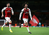 7th December 2017, Emirates Stadium, London, England; UEFA Europa League football, Arsenal versus BATE Borisov; Mohamed Elneny of Arsenal celebrates after scoring his sides 6th goal during the 2nd half to make it 6-0 with Olivier Giroud of Arsenal