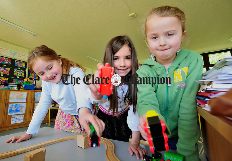 Ciara Collins, Aileen Witherspoon and Anna Jean O' Neill show off their train set at St John's National School in Shannon. Phortograph by Declan Monaghan