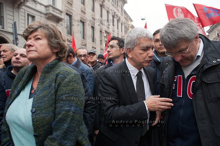 Milano: sciopero generale dei metalmeccanici Fiom e CGIL<br /> Susanna Camusso, Nichi Vendola e Maurizio Landini<br /> Milan: general strike of metal workers.