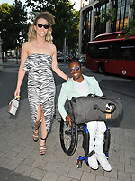 Linda Harrison and Ade Adepitan at the Syco summer party, Victoria and Albert Museum, Cromwell Road, London, England, UK, on Thursday 04th July 2019.<br /> CAP/CAN<br /> ©CAN/Capital Pictures