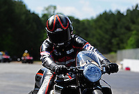 May 6, 2012; Commerce, GA, USA: NHRA pro stock motorcycle rider Eddie Krawiec after winning the Southern Nationals at Atlanta Dragway. Mandatory Credit: Mark J. Rebilas-