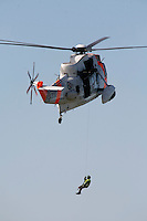 Sea King search and rescue helicopter (SAR) during  an air show at Rygge Air Station.