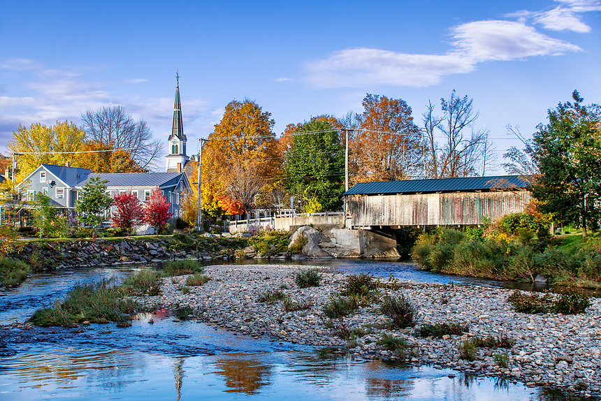 Charming town of Waitsfield, Vermont, USA.