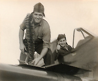 Henry Bartelloni and Adam 'Danny' Moyer by Curtiss SB2C Helldiver - 1944 or 1945  --Photo By Wade Litzinger