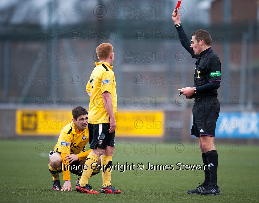 Montrose's Paul Lunan gets sent off after receiving a second yellow card after leaving the field of play to celebrate Paul Watson winning goal with his supporters.