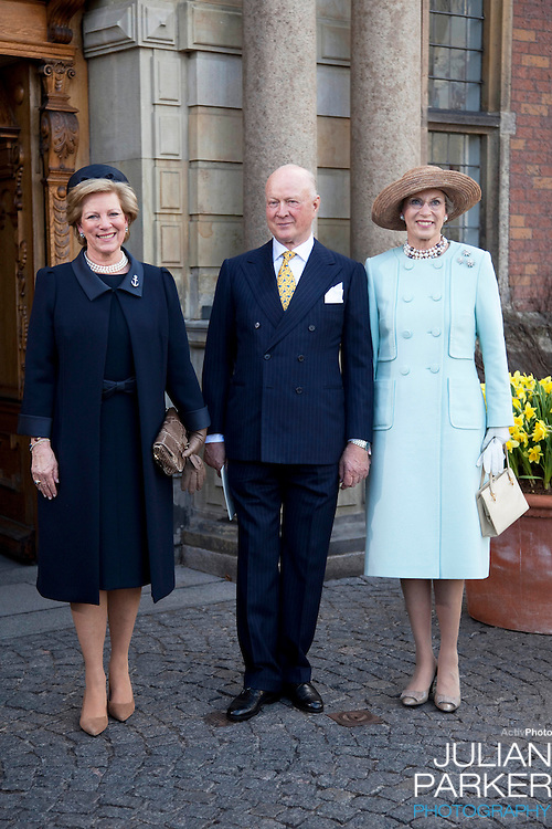 Queen Anne Marie of Greece, Princess Benedicte, and Prince Richard of Denmark, attend.The Christening of the Danish Royal Twins, at Holmens Church, Copenhagen..The twins were christened, Prince Vincent Frederik Minik Alexander and Princess Josephine Sophia Ivalo Mathilda