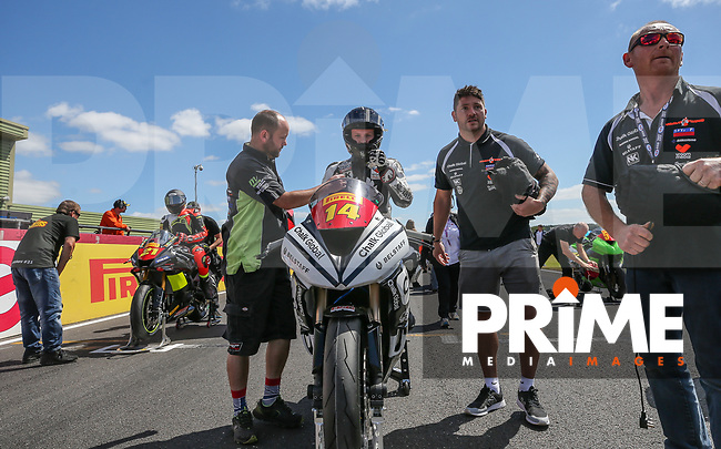 Tim Neave of the Neave Twins team (No. 14) prepares for the Pirelli National Superstock 600 Championship race during Round 5 of the 2017 MCE British Superbikes Championship  at Snetterton Circuit, Norwich, England on 2 July 2017. Photo by David Horn.