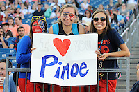 US Women's National fans hold up a sign during the International Friendly soccer match between the USA Women's National team and the Korea Republic Women's Team held at Gillette Stadium in Foxborough Massachusetts.   Eric Canha/CSM
