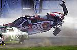 Tony Stewart flips going down the Daytona Superstretch during the closing laps of the Daytona 500 at Daytona International Speedway, Sunday, Feb. 18, 2001.(Brian Myrick)