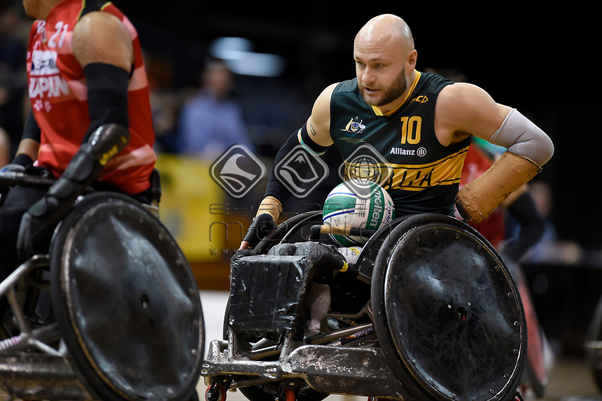 Chris Bond (AUS) vs Japan<br /> Australian Wheelchair Rugby Team<br /> 2018 IWRF WheelChair Rugby <br /> World Championship / Finals<br /> Sydney  NSW Australia<br /> Friday 10th August 2018<br /> © Sport the library / Jeff Crow / APC