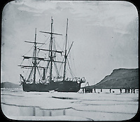 BNPS.co.uk (01202 558833)<br /> Pic: PenzanceAuctions/BNPS<br /> <br /> In winter the ships were frozen into the ice sheet. Greenland. <br /> <br /> Incredibly rare glass slides depicting the British expedition to the North Pole in 1875 have been found 140 years later.<br /> <br /> The remarkable images from the early days of photography depict the brave men and their Inuit guides who endured sub-zero temperatures to try to become the first to reach the pole in 1875.<br /> <br /> Photographers Thomas Mitchell and George White went on the failed expedition and now 42 of their glass slides have been found in a box during a house clearance in Cornwall.
