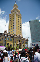 Freedom Tower at Miami Heat NBA 2013 Championship parade, Biscayne Boulevard, American Airlines Arena, Miami, FL, June 24, 2013