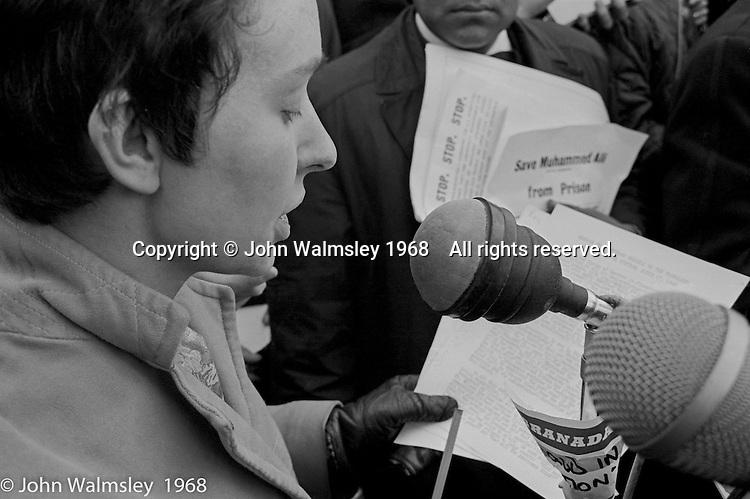 Addressing the crowds, anti-Vietnam war demonstration march from Trafalgar Sq to Grosvenor Sq Sunday 17th March 1968.
