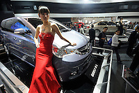 Chinese carmaker Geely stand at at the Auto China 2008 in Beijing. The car show has attracted all the world's major auto markers. Vehicle production and sales both surged more than 20 percent to a record 8.8 million units in China last year. Analysts forecast that both China's auto output and sales will continue to expand at double-digit rates in 2008 to 10 million as the economy grows rapidly and the government tries to encourage people to spend money..24 Apr 2008