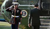 United States President Barack Obama salutes the Marine Guard as he departs the White House en route West Palm Beach, Florida on the South Lawn of the White House on April 10, 2012 in Washington, DC. .Credit: Olivier Douliery / Pool via CNP