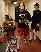 Matt Nareski (NU - Equipment Manager), Mike Hewkin (NU - 28) - The Boston College Eagles defeated the Northeastern University Huskies 5-1 on Saturday, November 7, 2009, at Conte Forum in Chestnut Hill, Massachusetts.